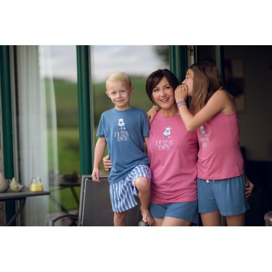 Lange jersey vrouwenpyjama 'Hond Roze'