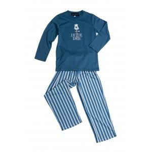Lange jersey zomerpyjama voor KINDEREN 'Hond blauw'