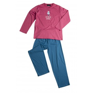 PYJAMA fille long 'Chien rose'