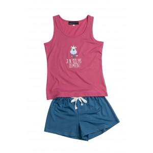 Korte jersey meisjespyjama met shorty 'Hond Roze'