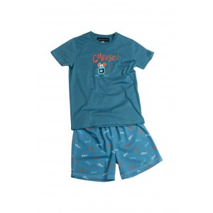 Korte jersey kinderpyjama 'Cheese'