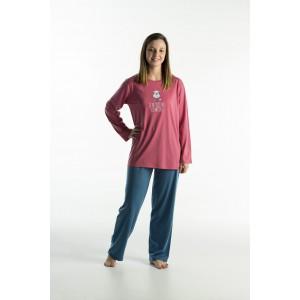 Lange jersey vrouwenpyjama voor de zomer'Hond Roze'