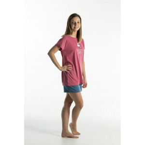 Korte jersey vrouwenpyjama 'Hond Roze'