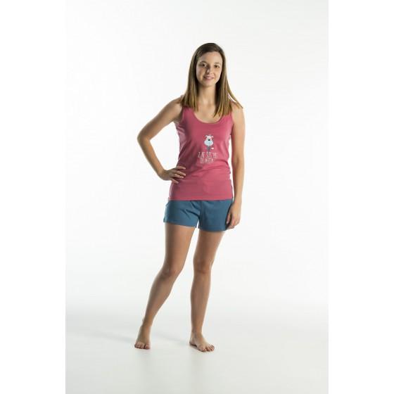 Korte jersey vrouwenpyjama met shorty 'Hond Roze'