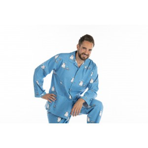 Pyjama long homme CHAT BLEU