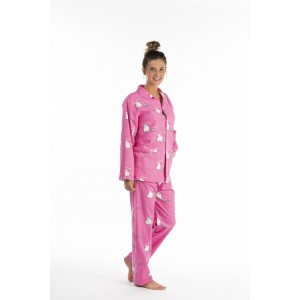 Pyjama long femme CHAT ROSE