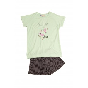PYJAMA fille jersey court raglan FLAMANT ROSE