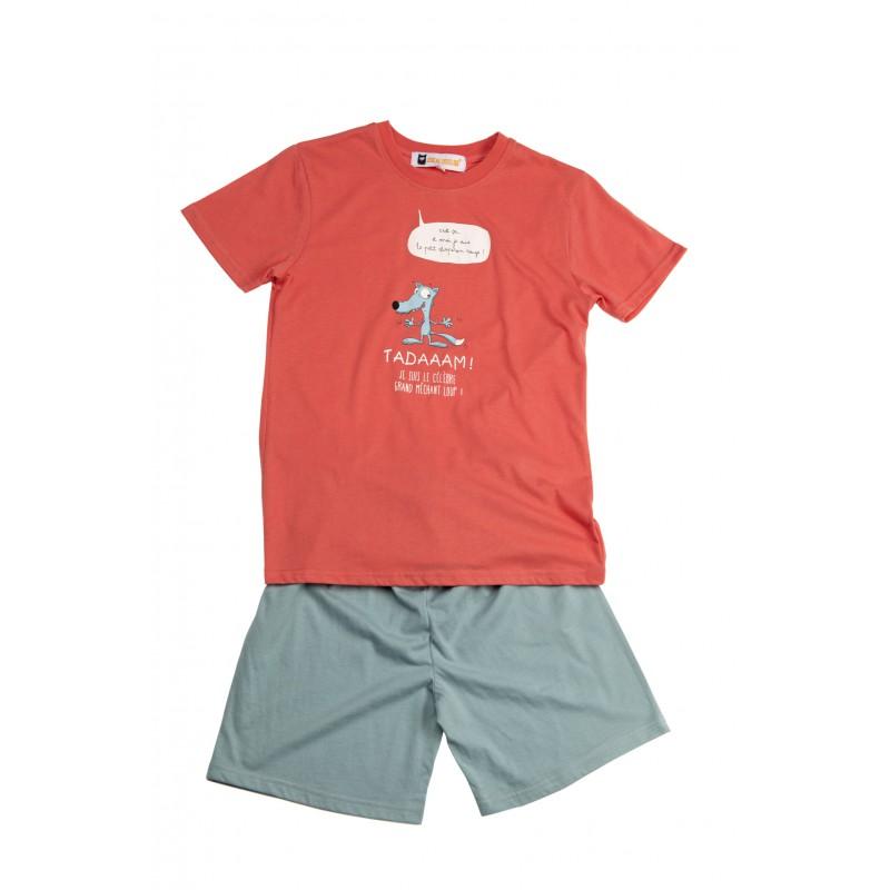 Pyjashort voor kinderen in jersey De WOLF