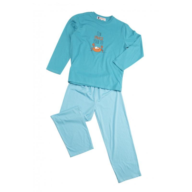 Lange pyjama voor kinderen in jersey De KRAB