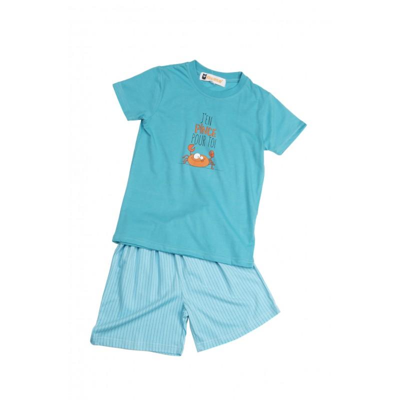 c28e9c1f0b5c2 Pyjama court pour enfants pour l'été en jersey LE CRABE