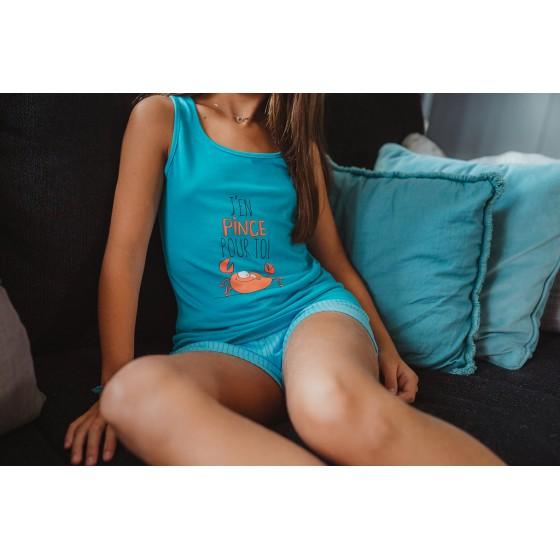 Pyjama shorty voor vrouwen in jersey CRAB