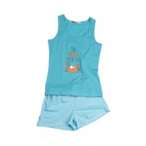 Pyjama shorty voor meisjes in jersey KRAB