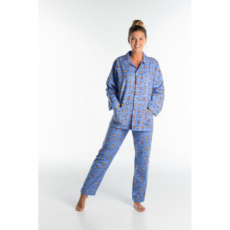 Lange flanellen pyjama voor dames PINGUINS