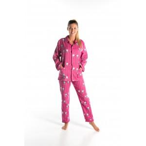 Lange gestreepte flanellen winterpyjama voor vrouwen  'KATJES'