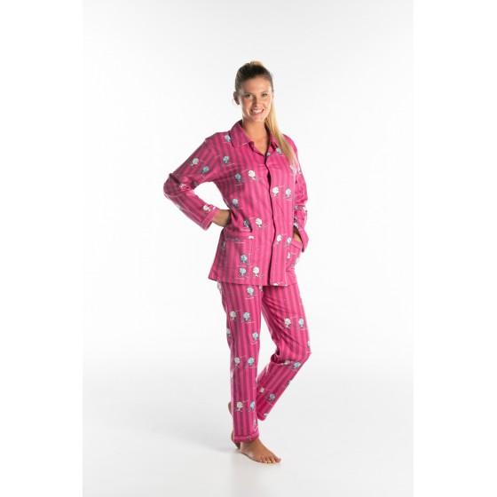 Pyjama long femme CHATS ligné