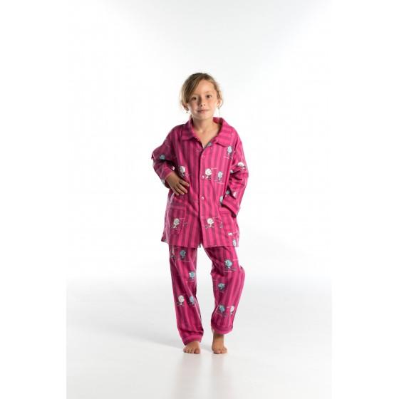 Lange gestreepte flanellen winterpyjama voor kinderen 'KATJES'