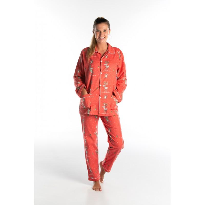 Lange flanellen pyjama voor dames KERST
