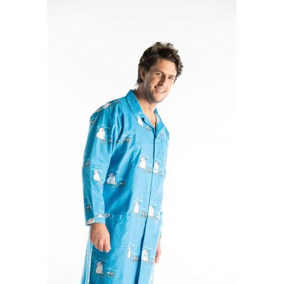 Chemise de nuit hiver homme CHAT BLEU