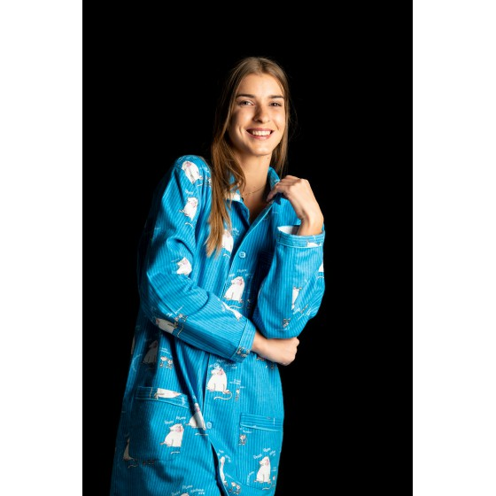 Chemise de nuit hiver femme CHAT BLEU